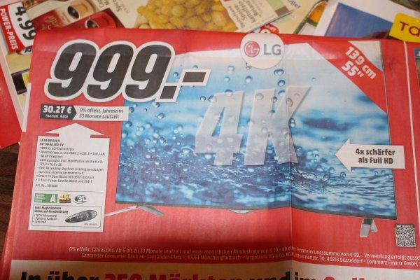 [Lokal] LG 55 UB 836 V, 3D 4K LED-TV, 900 Hz, 3-fach Tuner @ MediaMarkt Papenburg