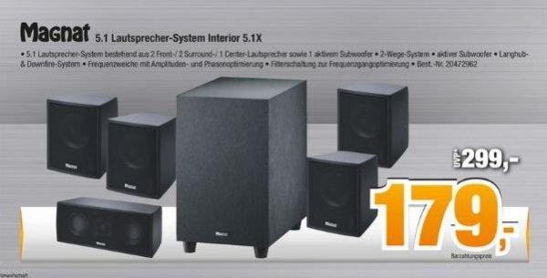 [Offline/Expert Bening Gruppe]Magnat Interior 5.1X - kompaktes 5.1 Heimkinosystem mit Aktiv-Subwoofer für 179,-€