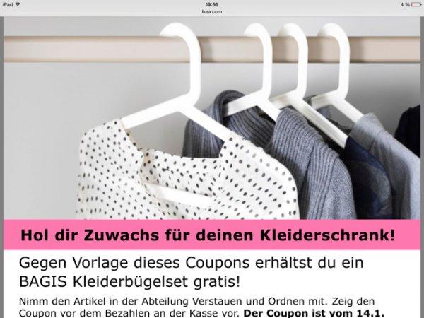 [lokal Hannover] Ikea Gutschein Kleiderbügel gratis (bis Sa., 28.2.)