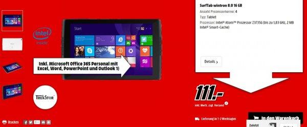 Media Markt TREKSTOR SurfTab wintron 8.0 16 GB Windows Tablet für 111€