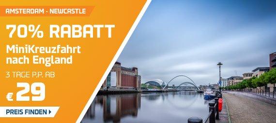 3 Tage Minikreuzfahrt von Amsterdam nach Newcastle für nur 58€ für 2 Personen ( 70% Rabatt )