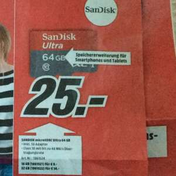 SanDisk Micro SDHXC Ultra 64GB für 25.- (Media Markt Regensburg