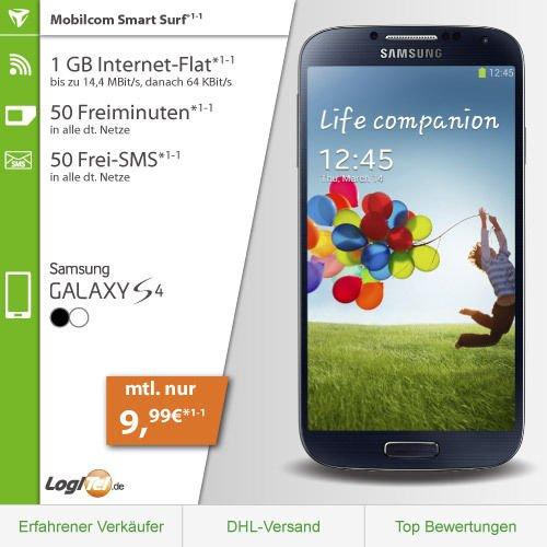 [Logitel] Samsung Galaxy S4 (102,90€) + D2 1GB | 50 Min | 50 SMS  (9,99€ / Monat) *UPDATE* auch weitere Smartphones wählbar