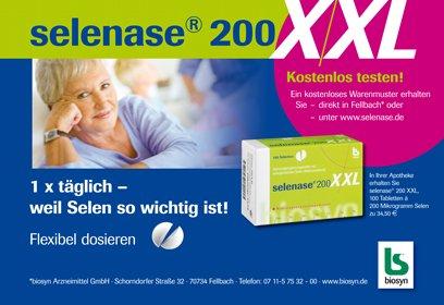 Kostenloses Warenmuster selenase® 200 XXL à 10 Tabletten + selenase® 100 XXL à 10 Tabletten