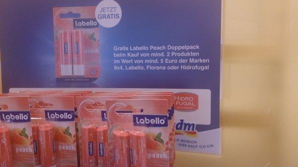 Doppelpack Labello Peach gratis beim Kauf von mind. 2 Produkte, Wert mind. 5,- €, Marken: