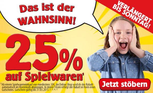 Spiele Max - 25% auf Spielwaren, MBW 30,- EUR