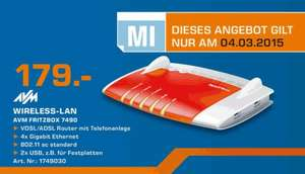 AVM Fritzbox 7490 - 179 EUR - Saturn, Wuppertal, nur am Mittwoch