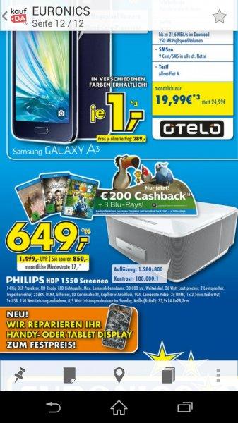 (lokal Konz & Merzig Electronics) Philips HDP 1550 Screeneo 3D Beamer