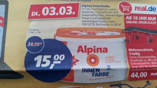 [real] Alpina Innenfarbe 10L für 15 €