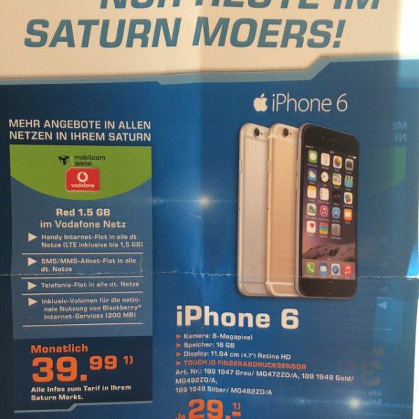Saturn Moers Mobilcom(Vodafone) Red Allnetflat + 1,5 Gb (junge Leute 3 GB) + iphone 6 16 GB für 39.99&