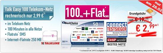 Talk Easy 100 für 0,91€ pro Monat [100 Minuten + 250 MB + 3000 SMS] - Nur heute bis 18 Uhr