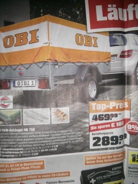 [Lokal Husum] Obi PKW Anhänger inkl. Plane 750kg 289,99