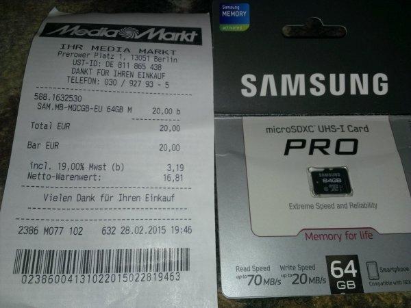 Samsung Pro microSDXC 64gb class 10 uhs-1 (mb-mgcgb) lokal Berlin mm HSH