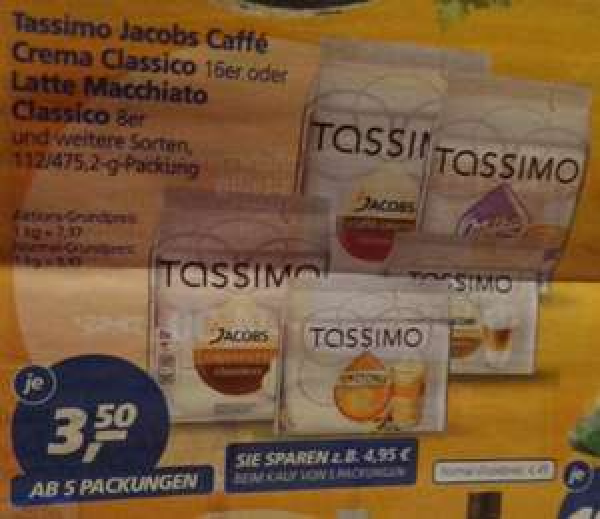 [ REAL bundesweit ] Tassimo Kapseln 3,50 € ab 5 Packungen