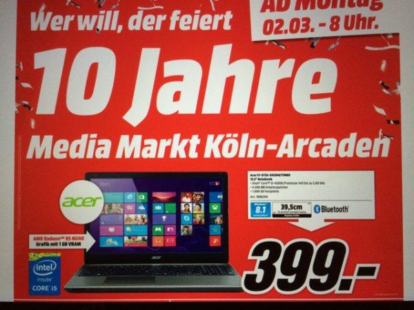 "15"" Acer Notebook mit Intel Core i5 im Media Markt Köln Kalk"