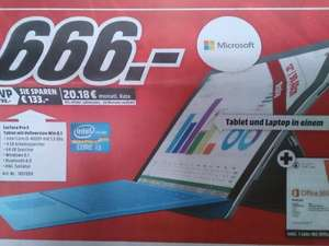 [lokal MM Worms] Surface PRO3 64GB, Cover, Office365 666,- Euro