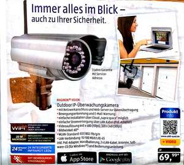 [Aldi Süd] ab 09.03: Outdoor IP Überwachungskamera (Maginon Vision)