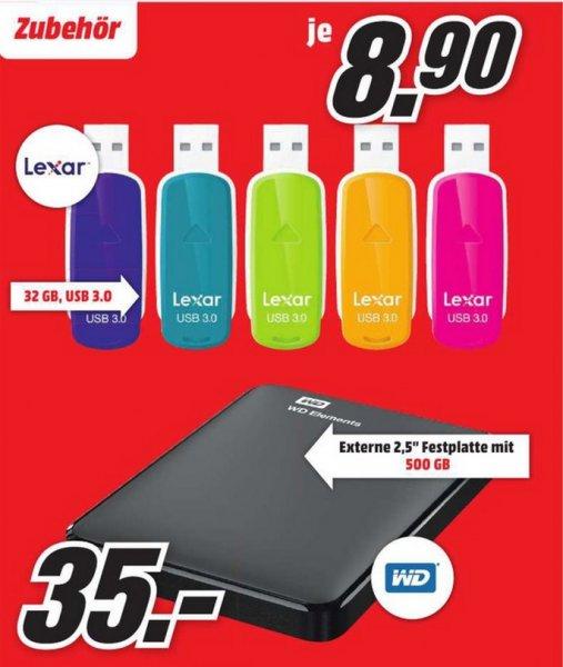 "LOKAL Lexar JumpDrive S33 USB 3.0 Stick 32GB für 8,90€,WD Elements Portable 500GB 2,5"" USB 3.0 für 35€ @ Mediamarkt Mönchengladbach"