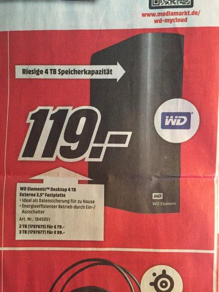 [Lokal?] [Mediamarkt] Western Digital WD Elements externe Festplatte HDD USB 3.0 4TB für 119€, 3TB für 99€ und 2TB für 79€