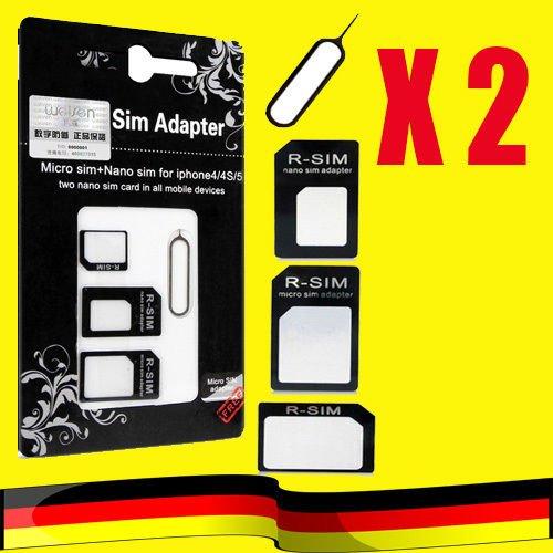 """Ebay: 2 x 4 in 1 Nano Micro Sim Karten Adapter Set, hier nicht zum """"rausbrechen"""", Versand aus Deutschland, Paypal möglich, für 1€"""