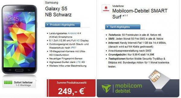 (logitel) Samsung Galaxy S5 252,90 EUR / MD smart surf / Vodafone