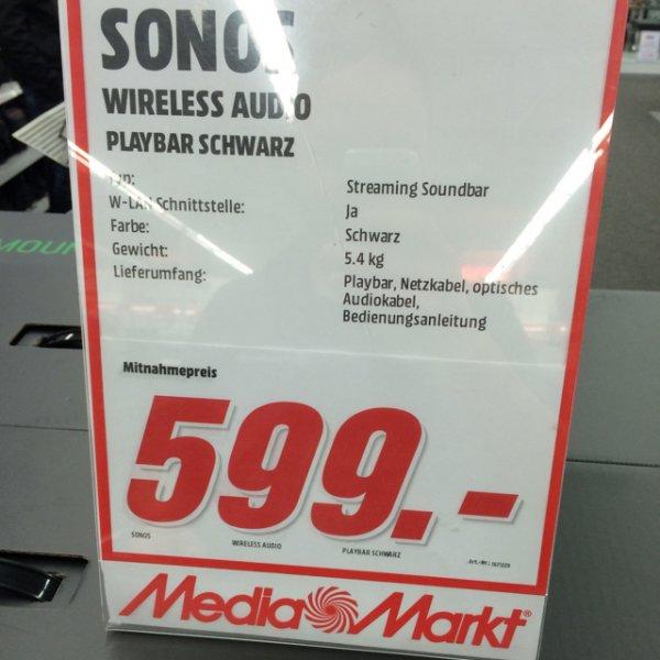 Sonos Playbar im Media Markt Köln Kalk, Sub für 599,-, Play 1 für 177,-