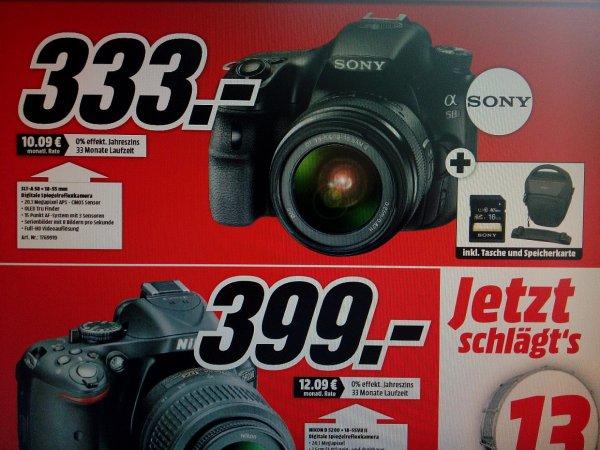 Lokal MM Wolfsburg & Gifhorn Sony Alpha 58 Kit 18-55mm für 333 € (incl. SD-Karte und Tasche)