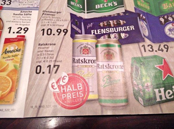Ratskrone Pils/Radler  0,5l Dose 1/2 Preis Marktkauf