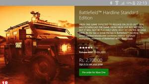 Battlefield Hardline XBOX ONE / 35€ mit EA Access / INDIA STORE
