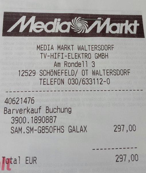 (MediaMarkt Berlin-Waltersdorf) Samsung Galaxy Alpha in Silber für 297€