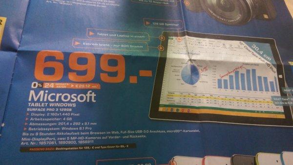 [Lokal Saturn Hamburg Tagesangebot.Nur gültig am 04.03] Microsoft Surface Pro 3 128 GB i5