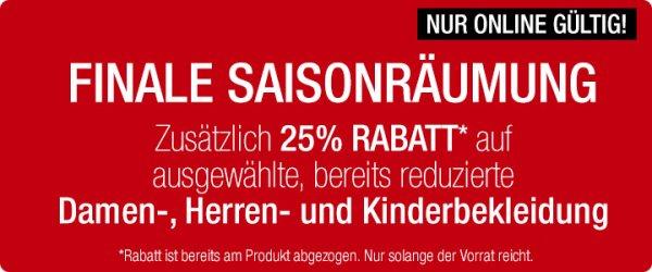 Galeria Kaufhof Online 25% Zusätzlich Rabatt auf bereits reduzierte - Saisonräumung