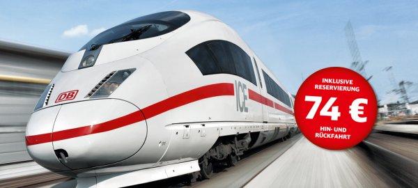 Hin und Rückfahrt Bahnticket für 74€ bis 07.03.2015 buchen, bis 31.3. fahren, incl. Reservierung