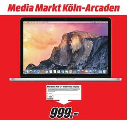 "[MM Köln Kalk] MacBook Retina 13"" 128 GB Version für 999€"