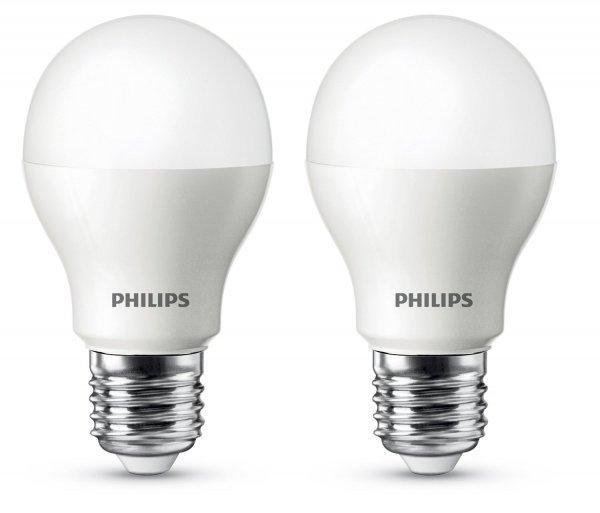 [Amazon Prime] 2x Philips LED-Lampe ersetzt 60 W, E27-Sockel, 2700 Kelvin - warmweiß, 9,5 W, 806 Lumen 12,49€