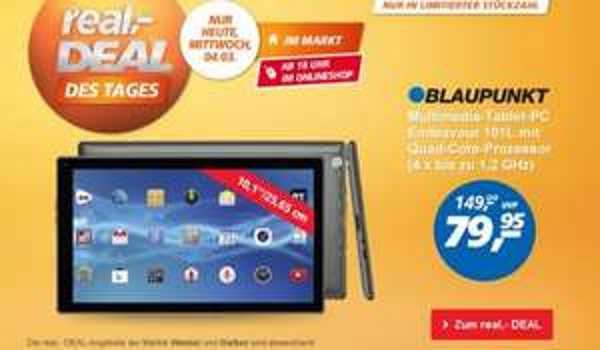 "10"" Blaupunkt Tablet Quadcore für 79,95 EUR heute! bei real"