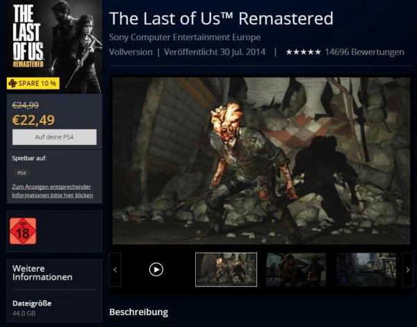The Last of Us Remastered DEUTSCH - PS4 - Download für 24,99€ bzw. 22,49 € [PS+]