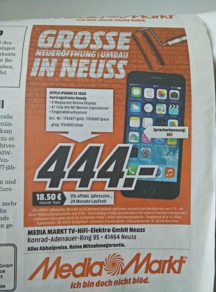 [Lokal MediaMarkt Neuss] iPhone 5S 16GB verschiedene Farben