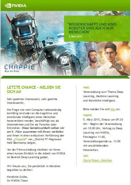 Chappie + Vortrag: WISSENSCHAFT UND KINO: ROBOTER SIND AUCH NUR MENSCHEN (Lokal in München)