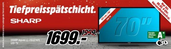 [Mediamarkt Tiefpreisspätschicht] SHARP AQUOS LC-70LE747E für 1699,- VSK Frei