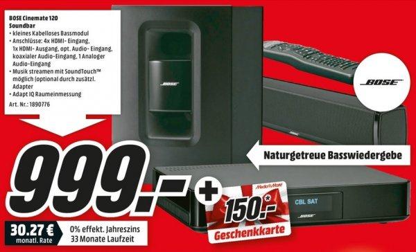 [Lokal Berlin/Brandenburg Mediamarkt] Bose Cinemate 120 Soundbar für 999 € dazu gibt es einen 150 € Gutschein!