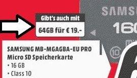 Lokal MM Berlin, 64GB SAMSUNG microSDHC Class 10 PRO für 19€