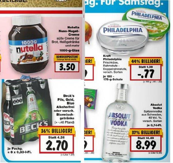 [KAUFLAND] evtl. Bundesweit: Nächste Woche:  Nutella 1KG 3,50 €, Super Weekend: Philadelphia 0,77 €,  Absolut Vodka  8,99 €, Beck's verschiedne Sorten 6 x 0,33l  2,70 €  (9.-14.03.)