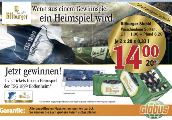 (Lokal Ludwigshafen u.a.) GLOBUS - Bitburger Stubbi 2 Kästen für 14 Euro