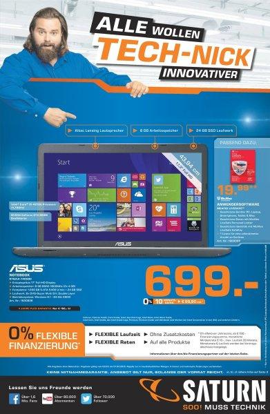 Notebook ASUS R752LK-T4058H für 699€ (Düsseldorf Saturn)