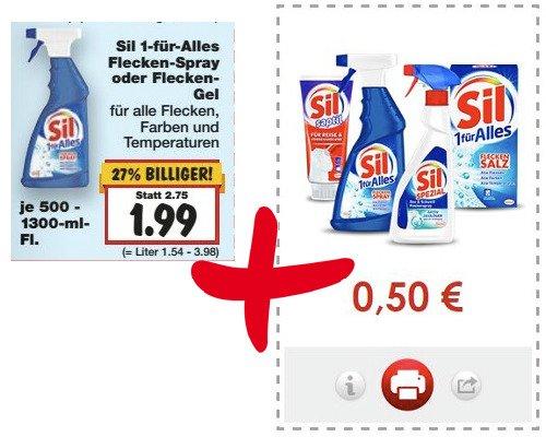 [KAUFLAND evtl. bundesweit] Sil 1-für-Alles Flecken-Spray oder Flecken-Gel (je 500 - 1300 ml) für 1,49 € (Angebot + Coupon) [Gültig bis 14.03.2015]