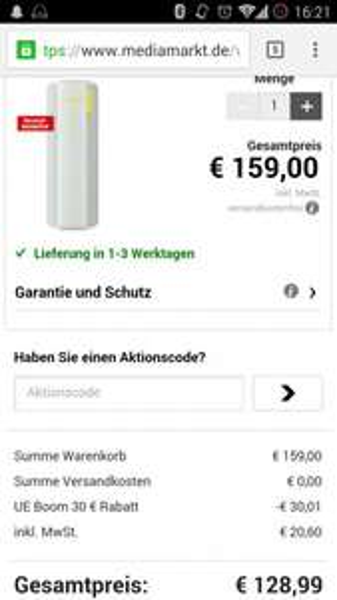 Logitech Ultimate Ears UE Boom in versch. Farben bei MediaMarkt 129€