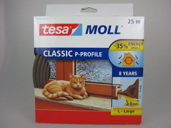 Tesa Moll P-Profil Fensterdichtung 25m Braun