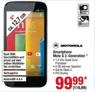 [Metro] Motorola Moto G 2.Generation 2014 Dual-SIM ab 12.3. für 118,99