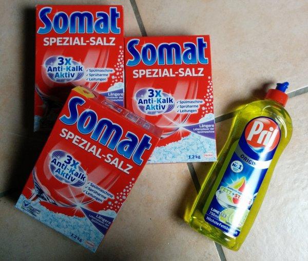 Somat Regeneriersalz und 1 Flasche Pril kostenlos